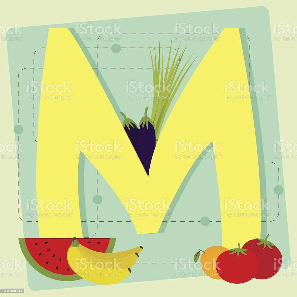 Letter 'm' from stylized alphabet with fruits and vegetables vector art illustration