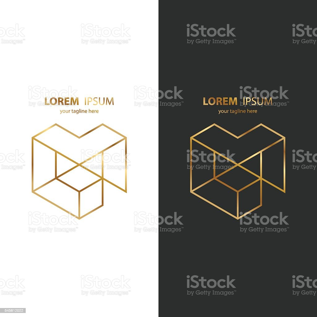 Letter M golden line icon. Vector illustration. vector art illustration