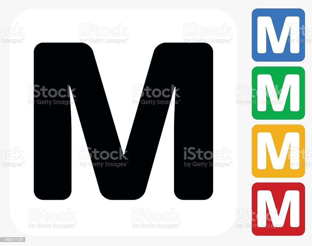 Letter M Icon Flat Graphic Design vector art illustration