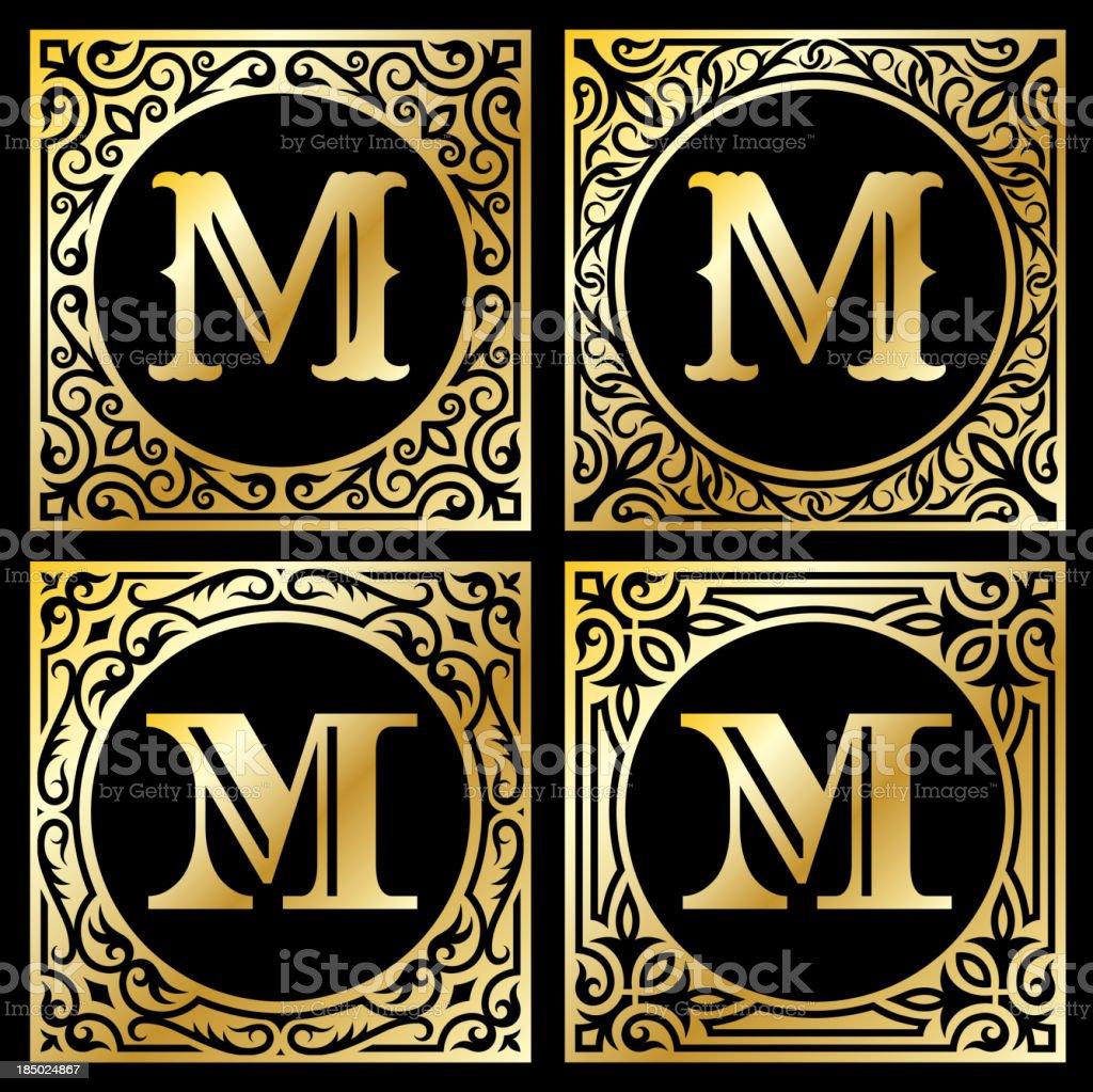 Letter M in Golden Frame royalty-free stock vector art
