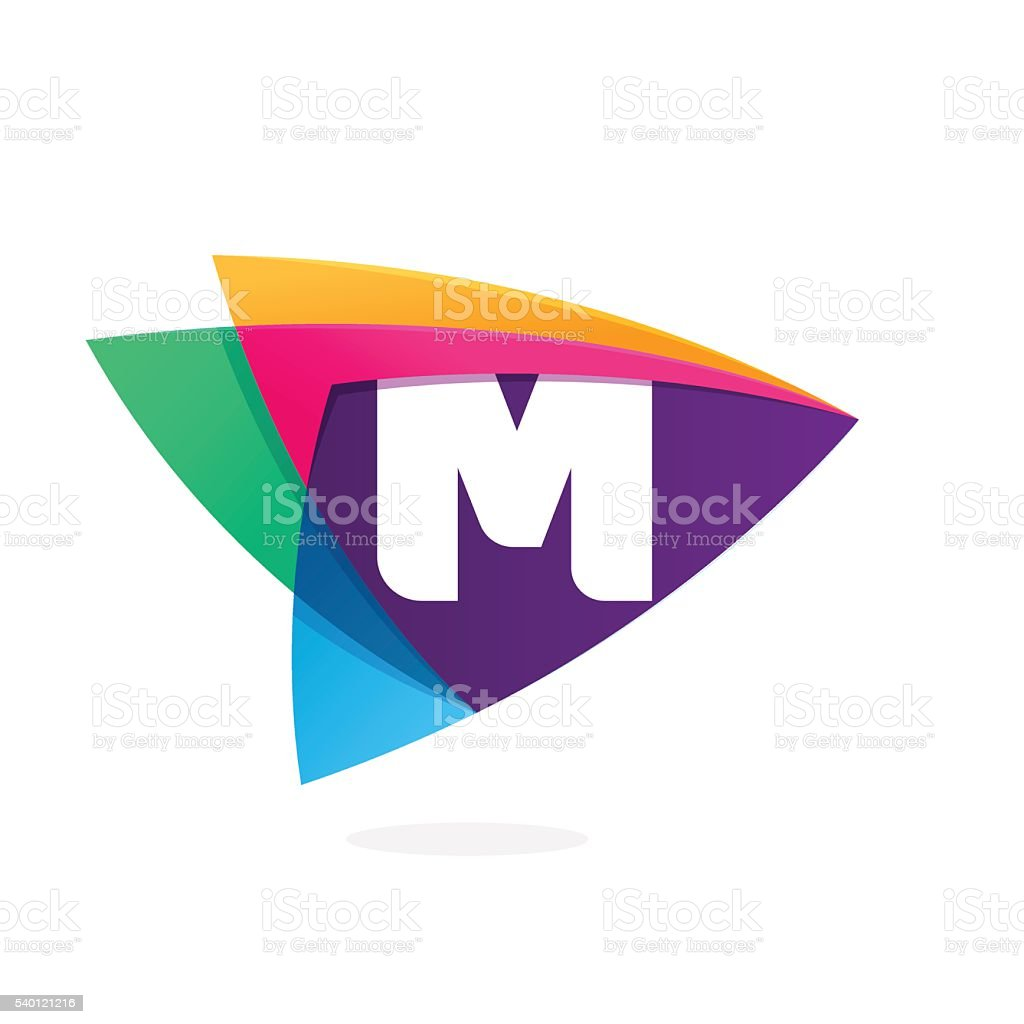 Letter M in triangle intersection icon. vector art illustration