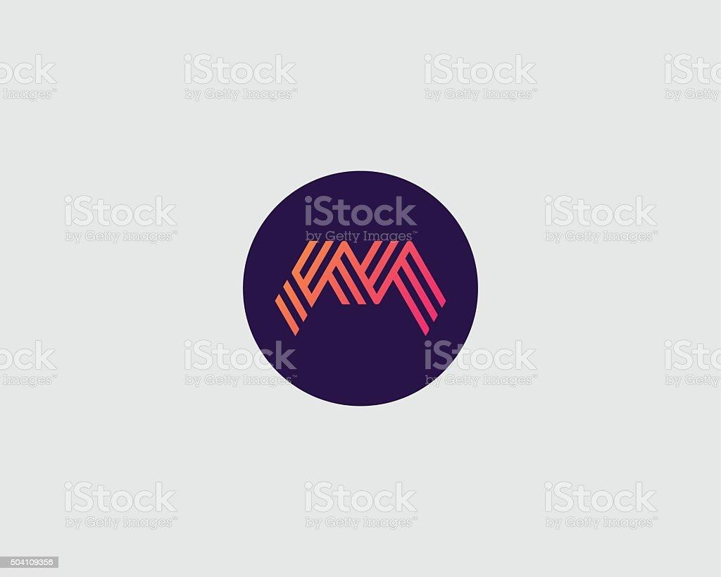 Letter M logo icon vector design. Creative line symbol vector art illustration