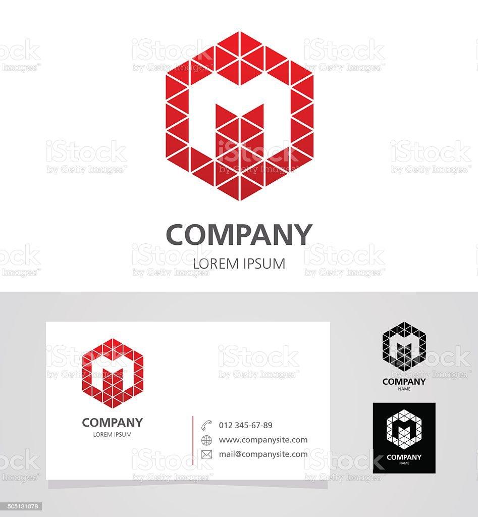 Letter M - Logotype Emblem Design Element with Business Card vector art illustration