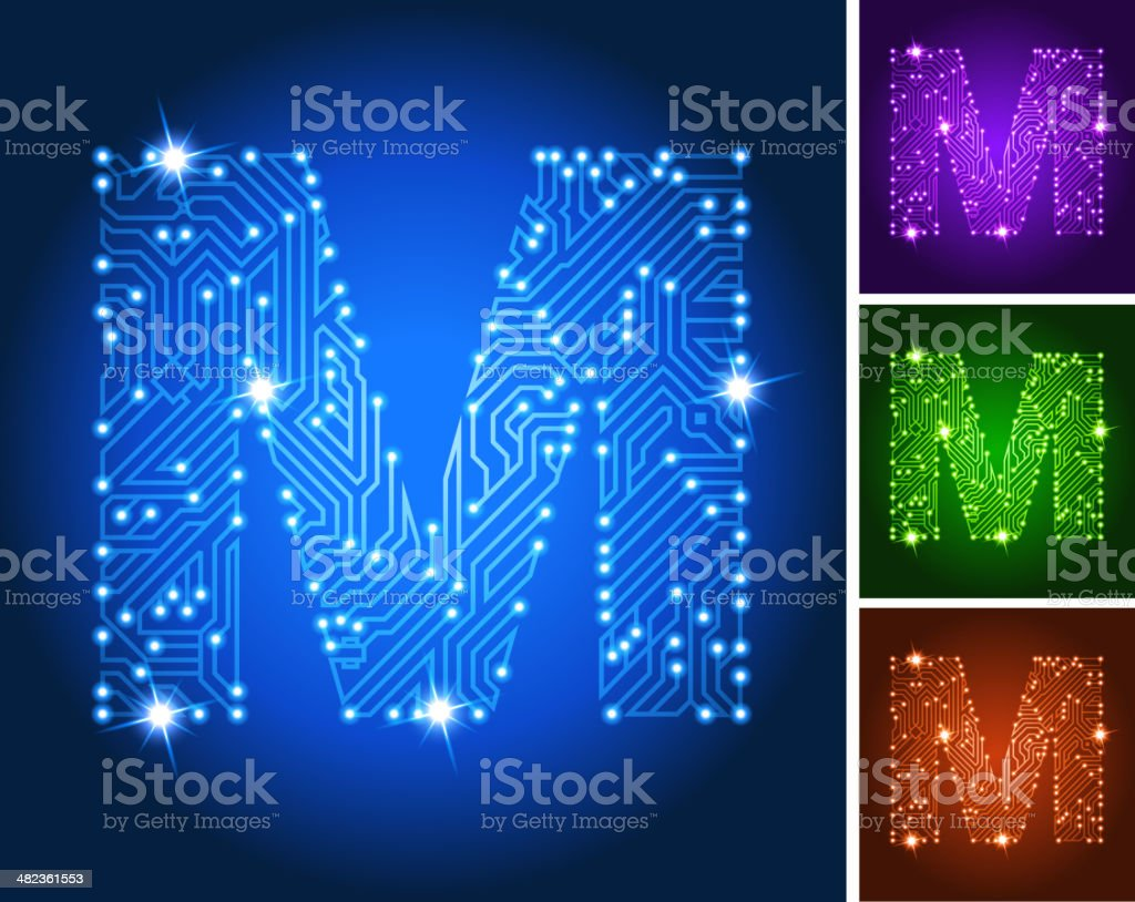 Letter M on Blue Circuit Color Set royalty-free stock vector art