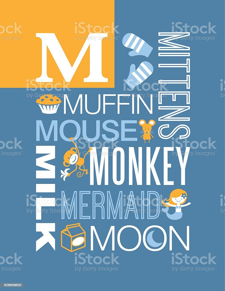 Poster design word - Letter M Poster Illustrations And Words That Start With M Royalty Free Stock