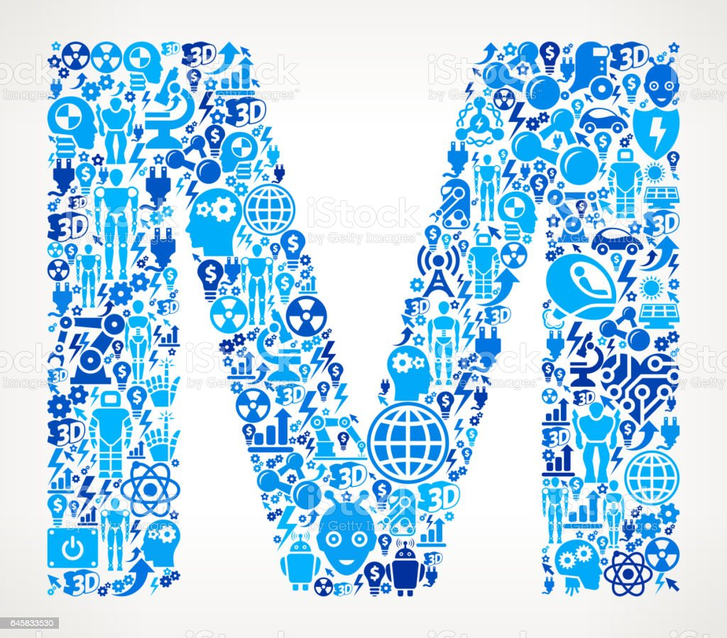 Letter M Robots and Robotics Automation Pattern vector art illustration