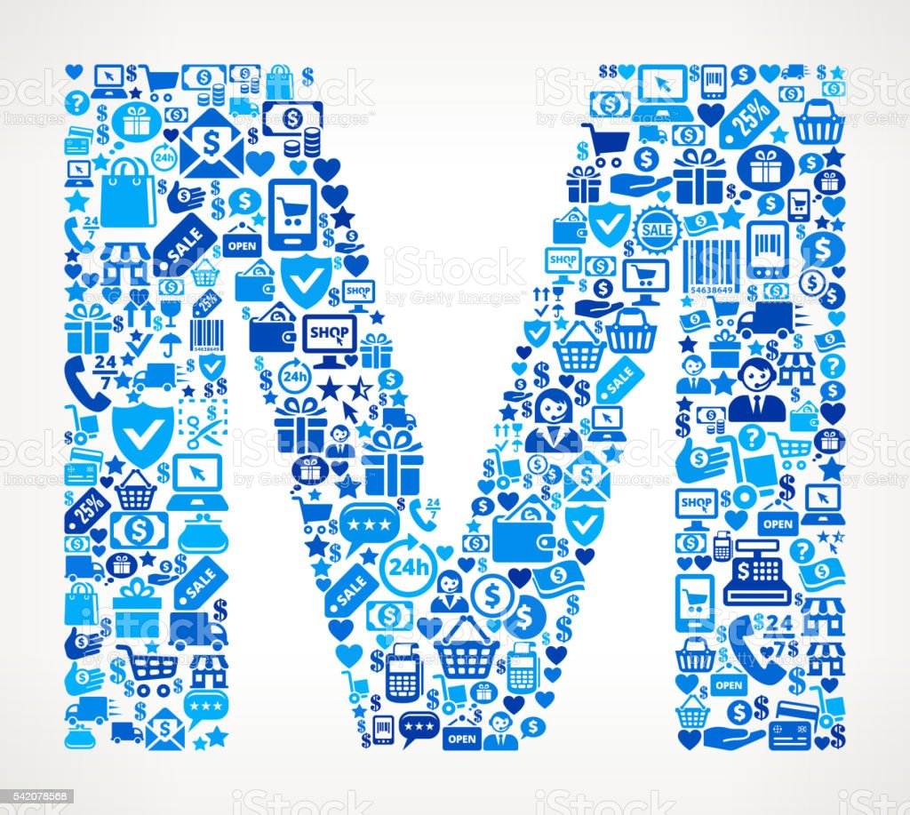 Letter m Shopping and Commerce Blue Icon Pattern vector art illustration
