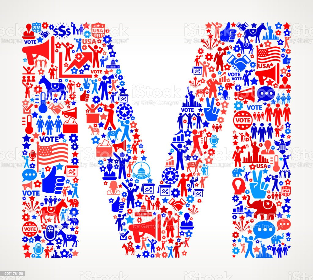 Letter m Vote and Elections USA Patriotic Icon Pattern vector art illustration