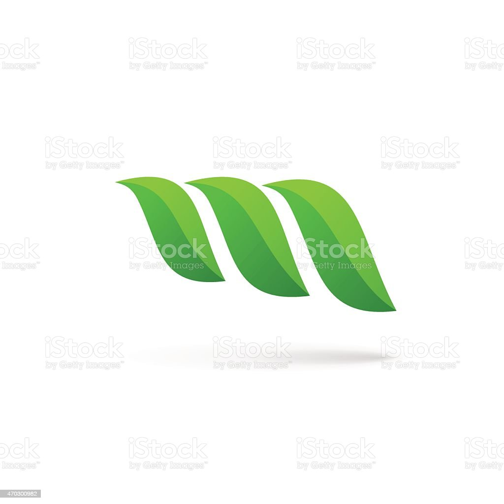Letter M with eco leaves icon vector art illustration