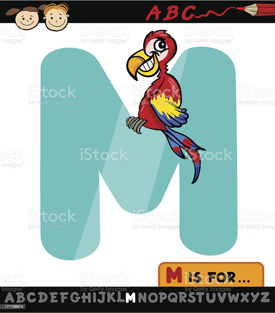 letter m with macaw cartoon illustration royalty-free stock vector art