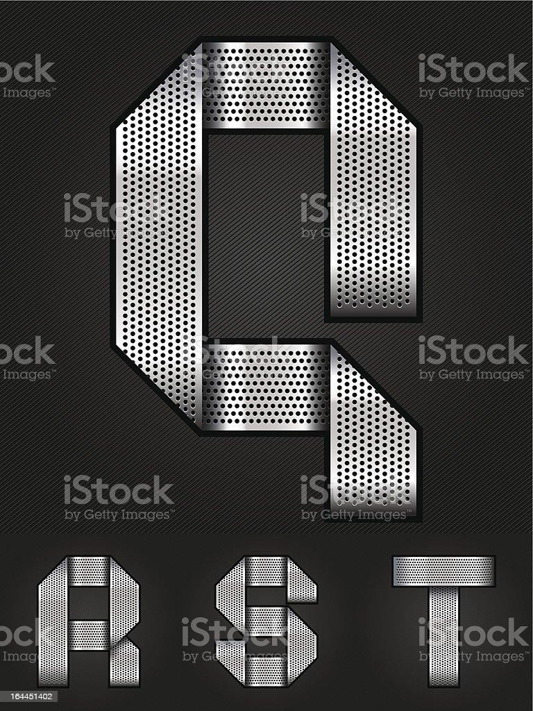Letter metal chromium ribbon - Q-T royalty-free stock vector art