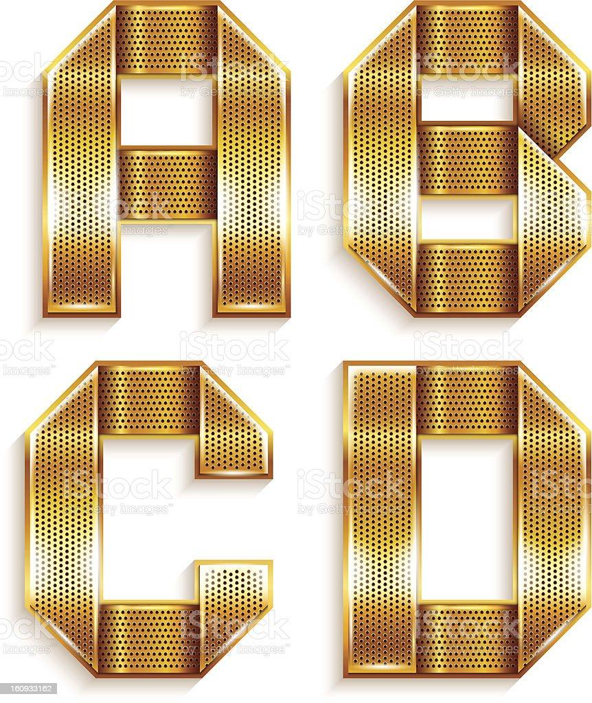 Letter metal gold ribbon - A,B,C,D royalty-free stock vector art