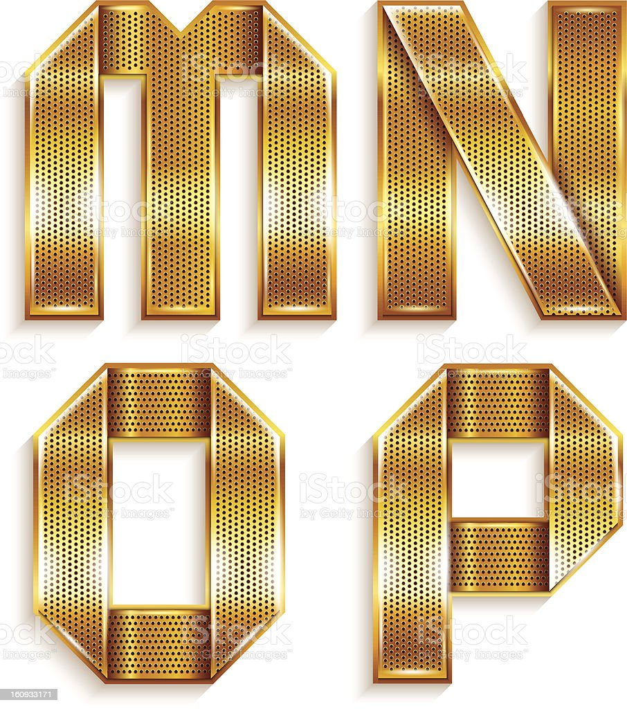 Letter metal gold ribbon - M,N,O,P. royalty-free stock vector art