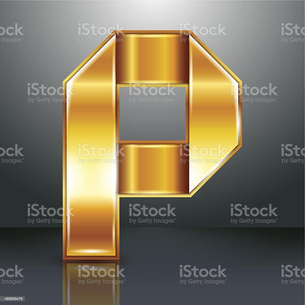 Буква металла золотой лентой-P векторная иллюстрация