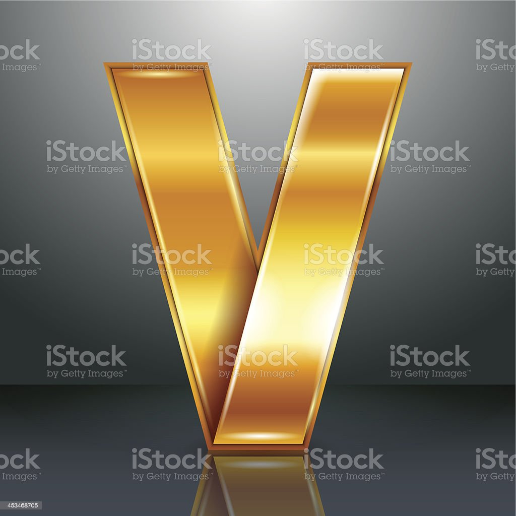 Буква металла золотой лентой-V векторная иллюстрация