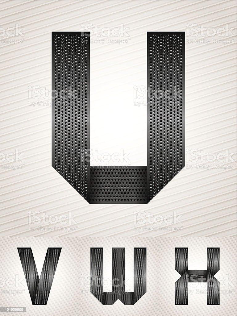 Буква металлическая лента-U-X векторная иллюстрация