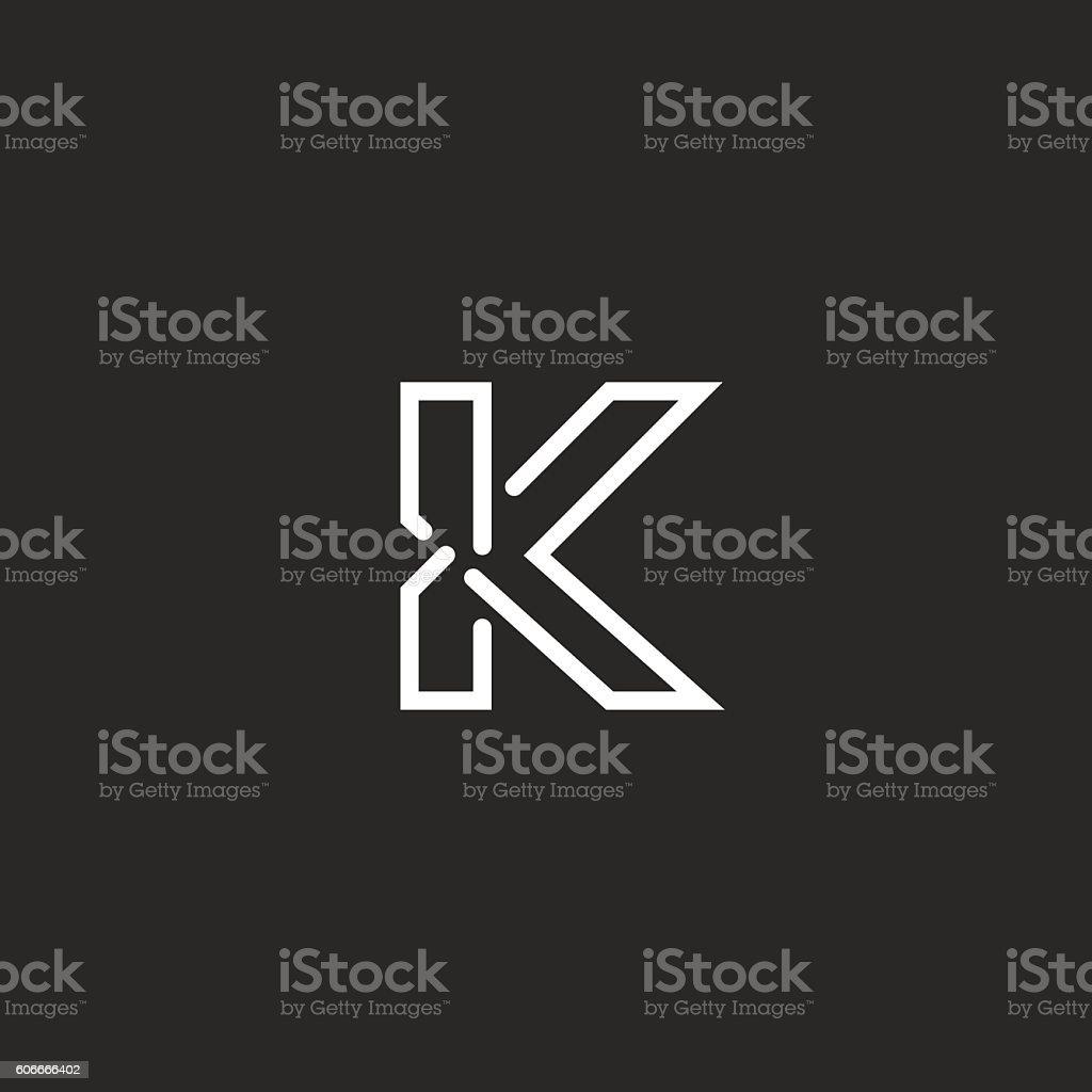 K letter mockup logo, black white thin line monogram vector art illustration
