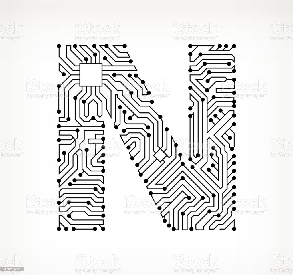Letter N Circuit Board on White Background vector art illustration