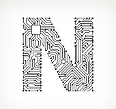Letter N Circuit Board on White Background