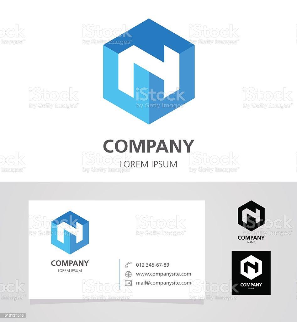 Letter N - Emblem Design Element with Business Card - illustration vector art illustration