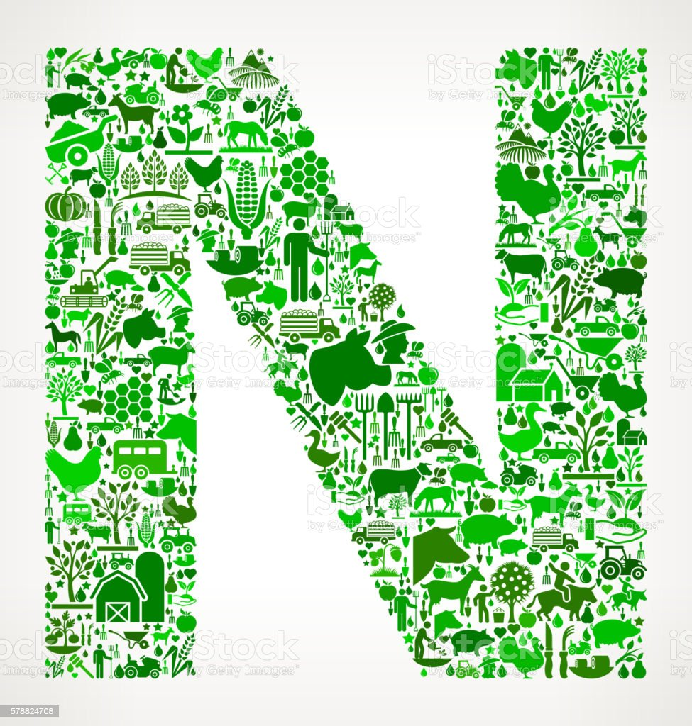 Letter N Farming and Agriculture Green Icon Pattern vector art illustration