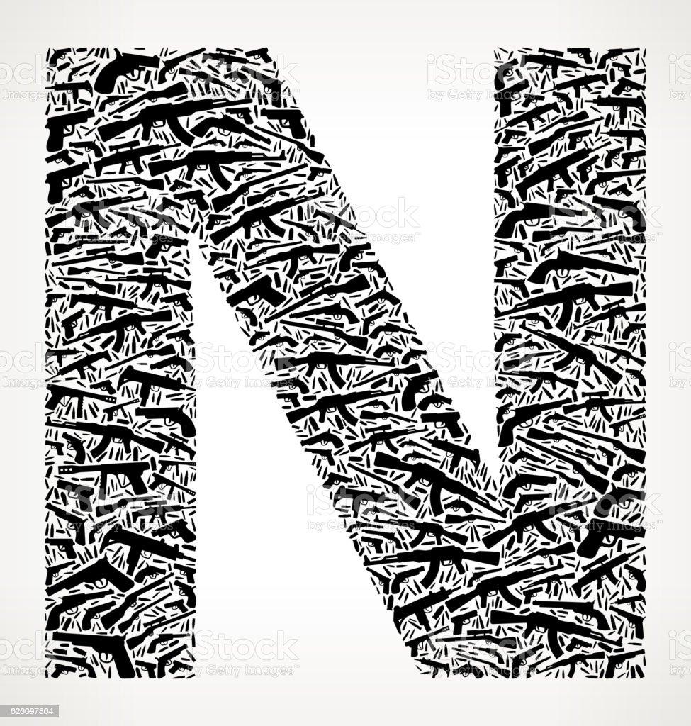 Letter N Gun Black Icon Pattern Background vector art illustration