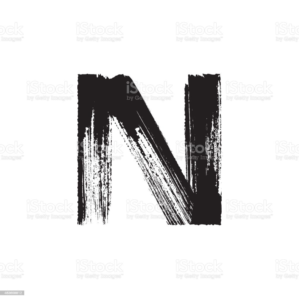 Letter N hand drawn with dry brush vector art illustration