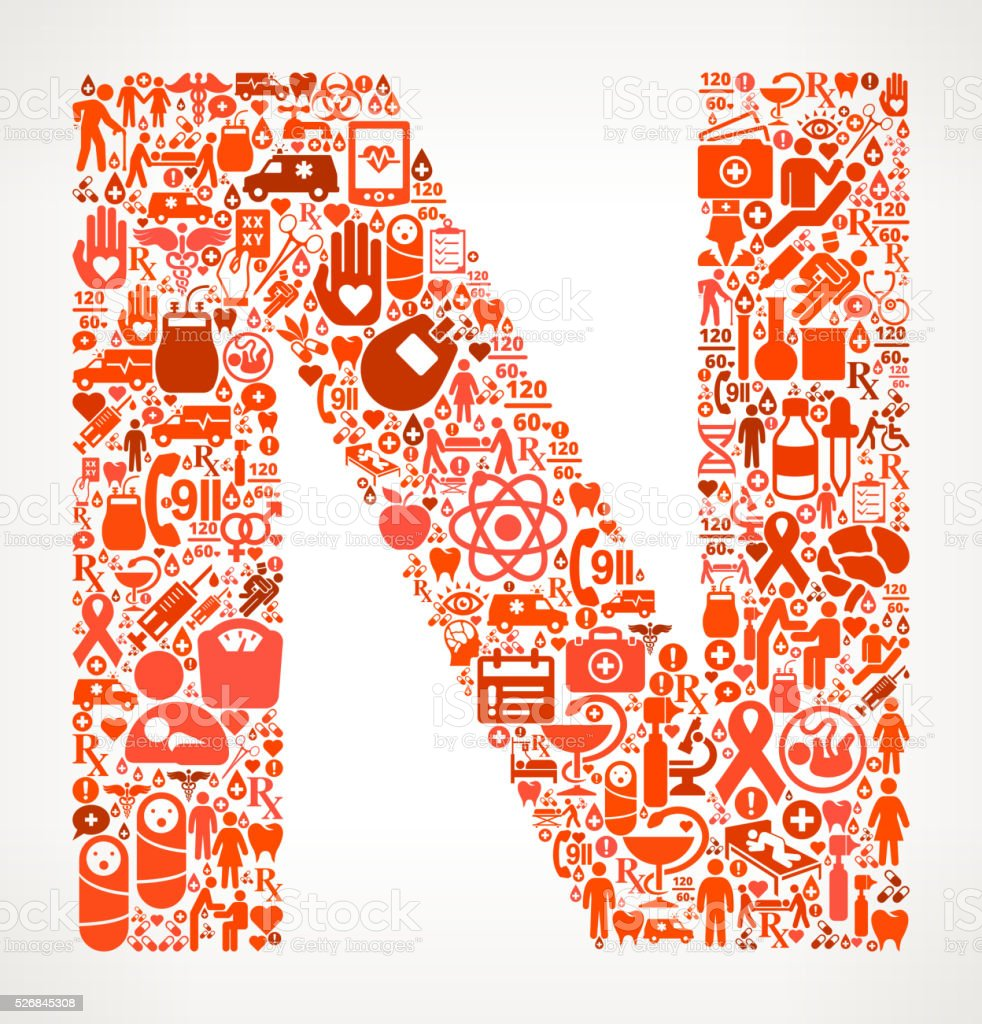 Letter n Healthcare and Medical Red Icon Pattern vector art illustration