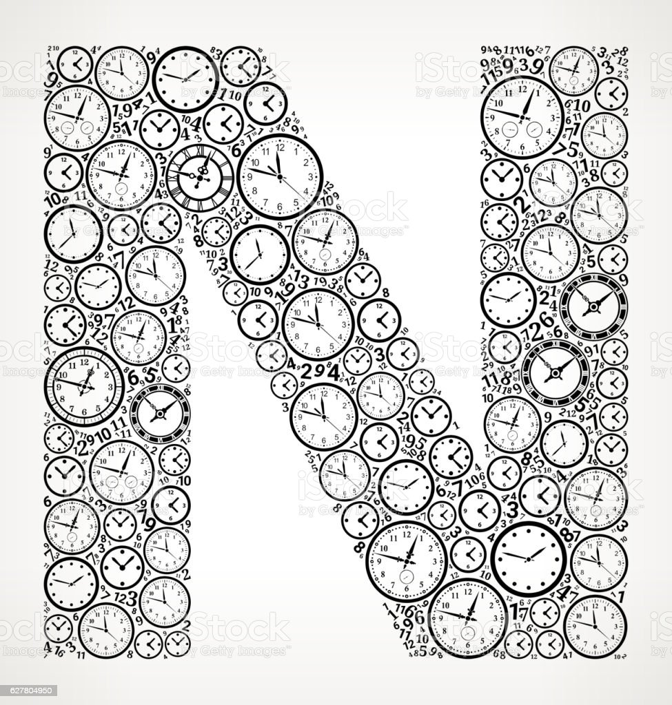 Letter N on Time and Clock Vector Icon Pattern vector art illustration