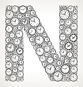 Letter N on Time and Clock Vector Icon Pattern