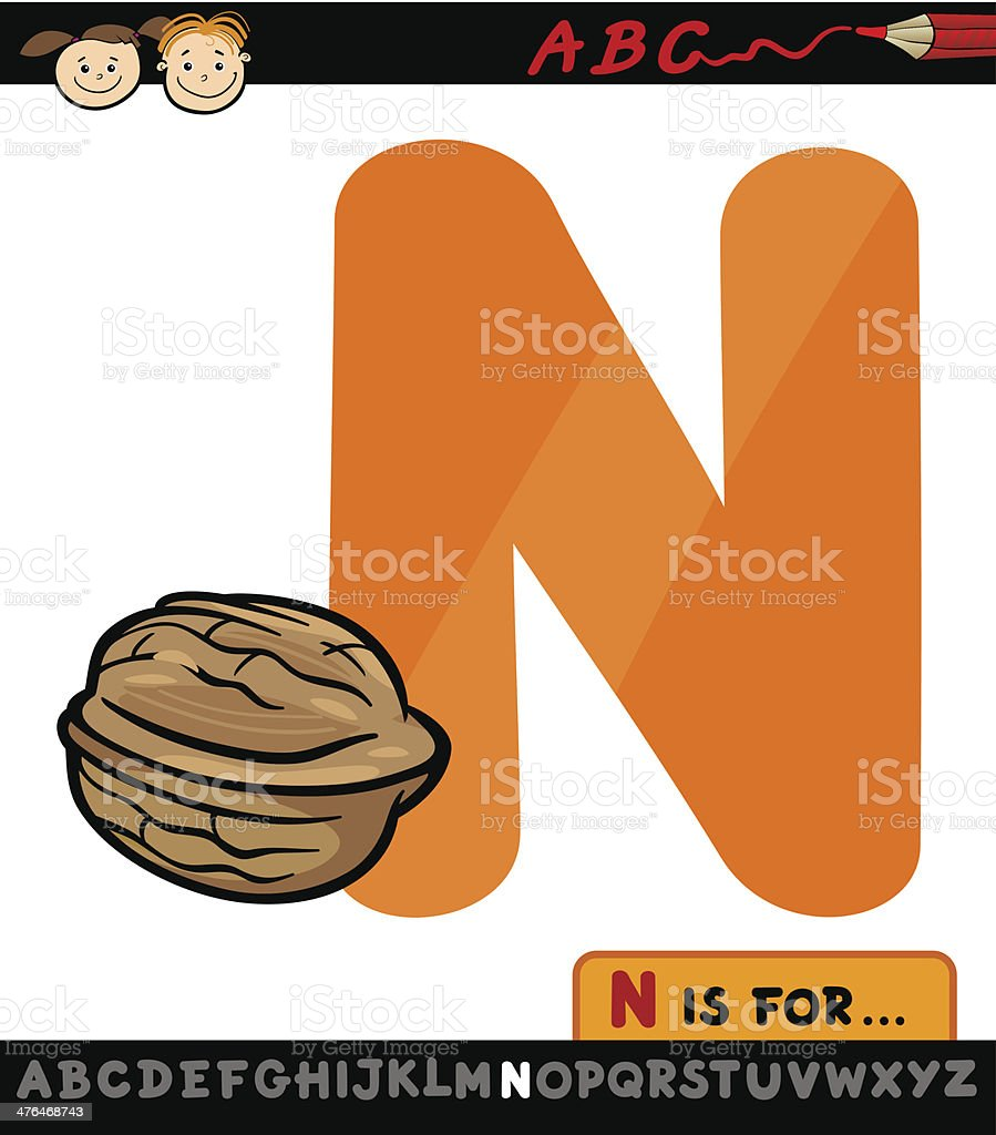 letter n with nut cartoon illustration royalty-free stock vector art