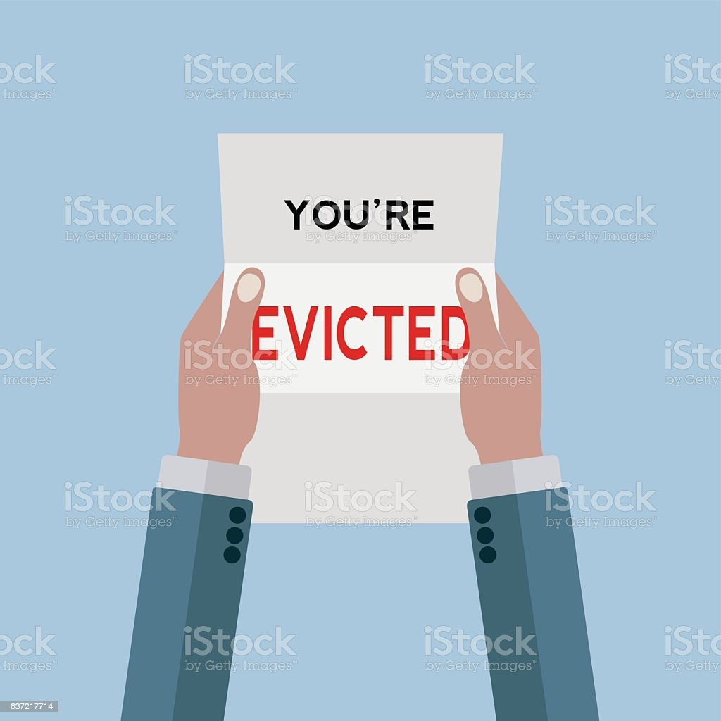 Letter notifying a man that he's evicted from his home vector art illustration