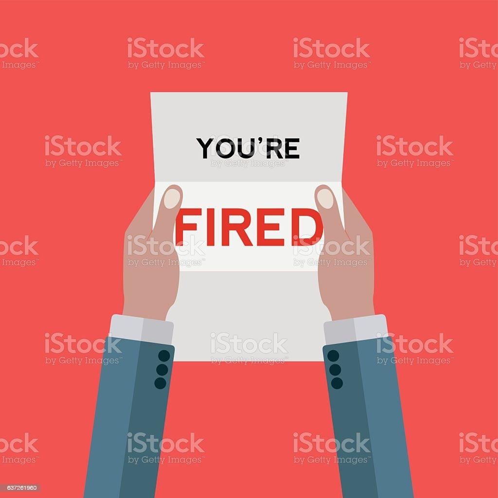 Letter notifying man that he's fired vector art illustration
