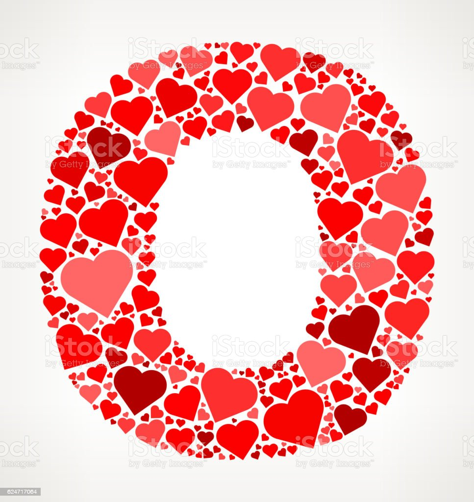 Letter O Icon with Red Hearts Love Pattern vector art illustration
