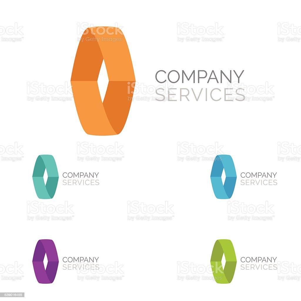 Letter O logo  design template elements in different  colors vector art illustration