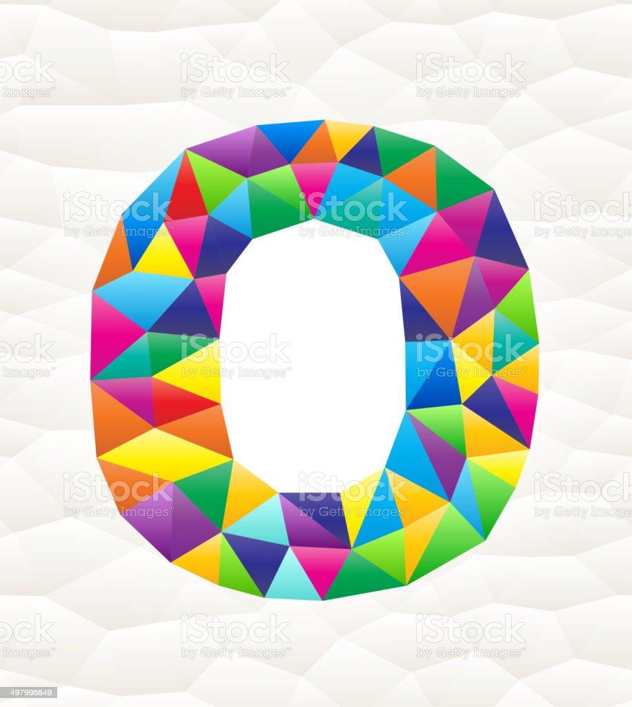 Letter O on triangular pattern mosaic royalty free vector art royalty-free stock vector art