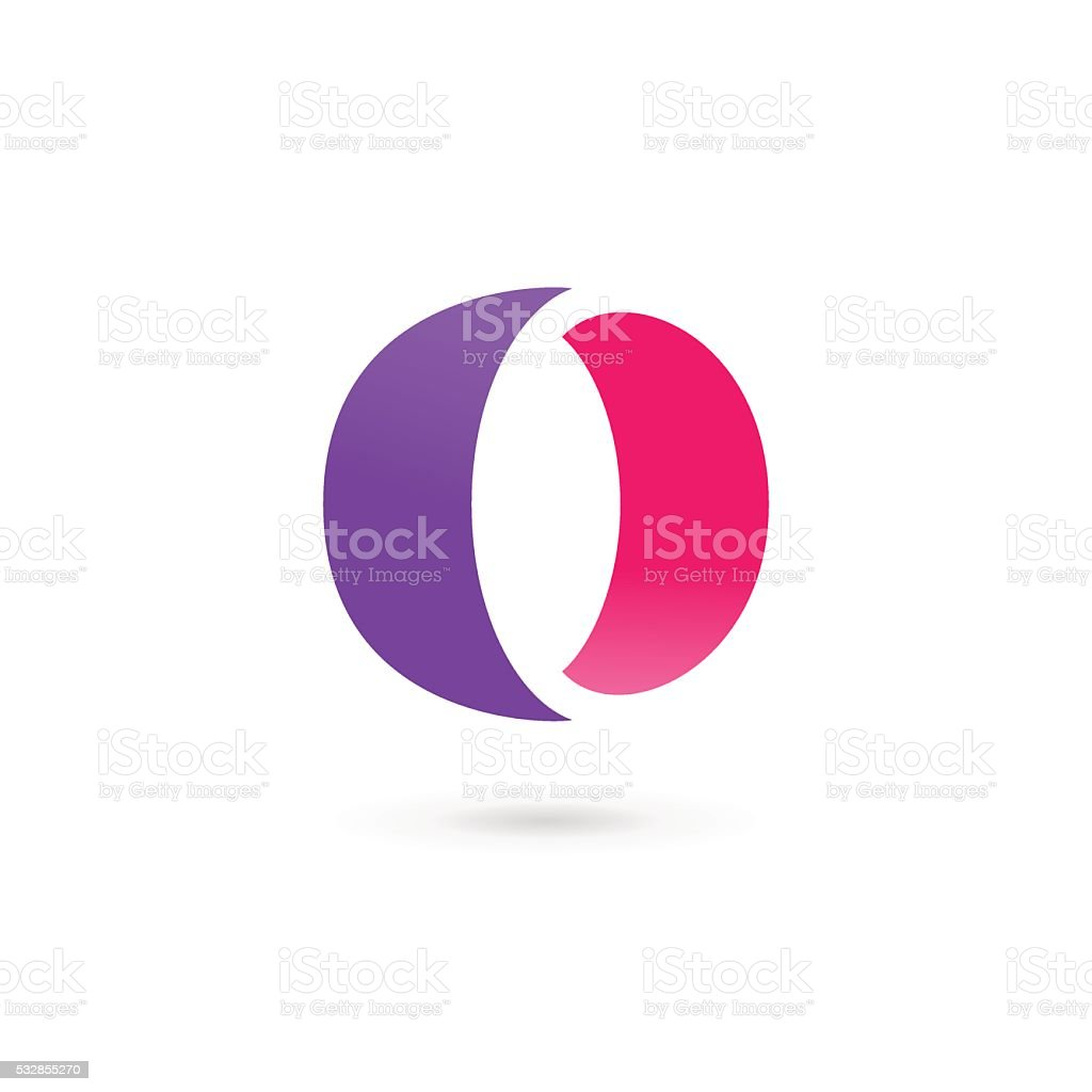 Letter O or number 0 icon vector art illustration