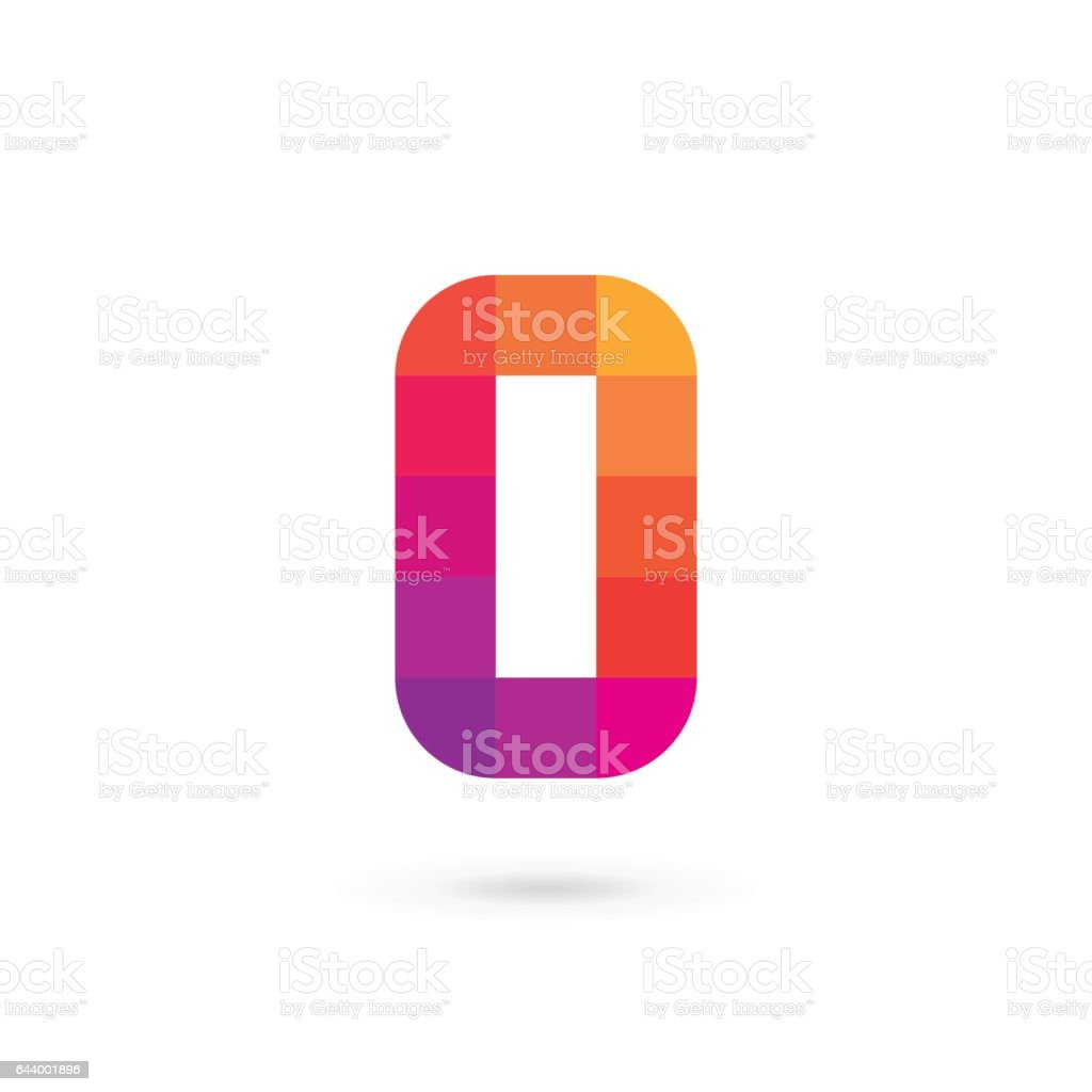 Letter O or number 0 mosaic icon vector art illustration