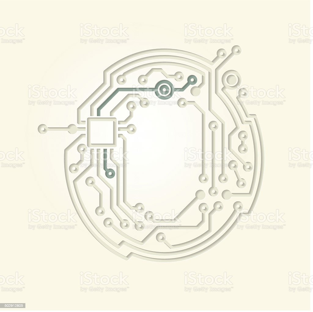 Letter O (Cut out electronic conductive tracks) vector art illustration