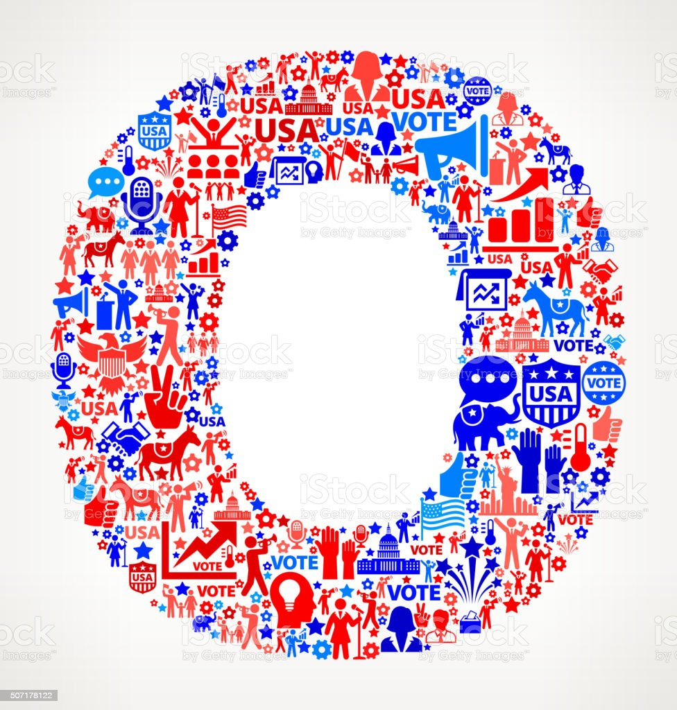 Letter o Vote and Elections USA Patriotic Icon Pattern vector art illustration
