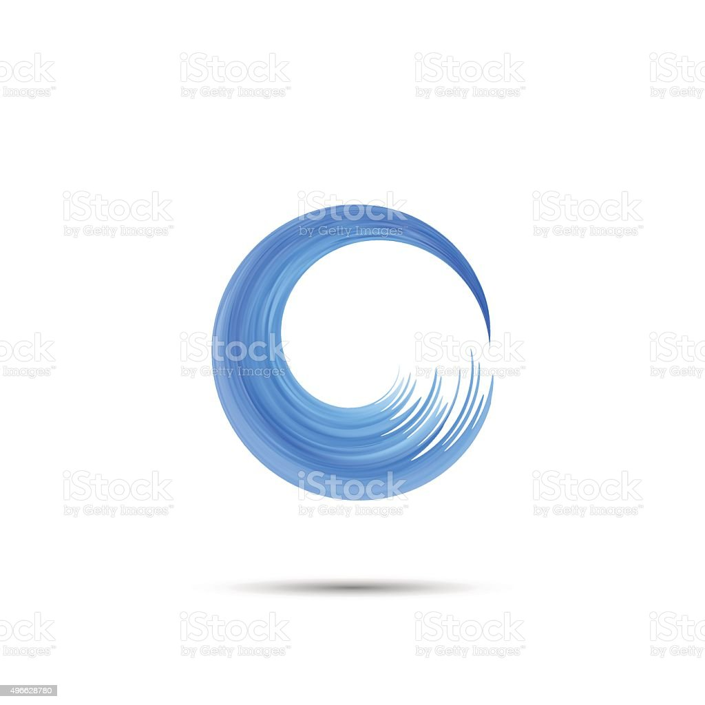 Letter O  wave logo vector art illustration