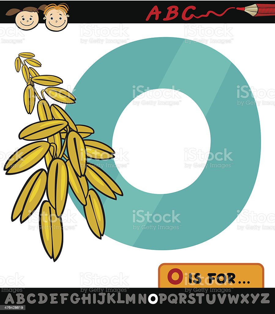 letter o with oat cartoon illustration royalty-free stock vector art