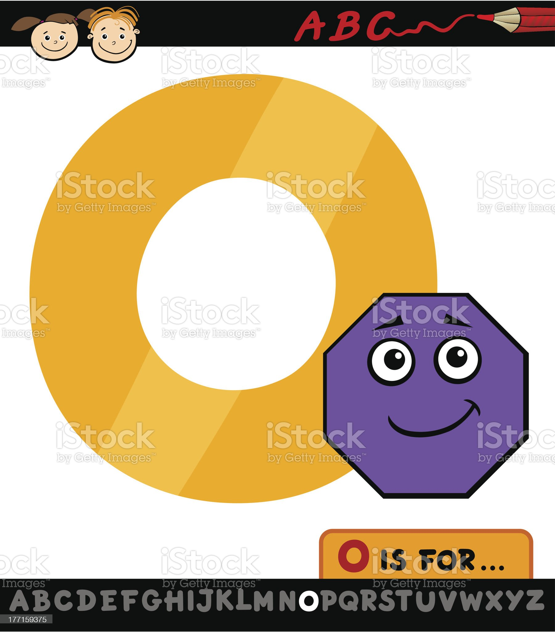 letter o with octagon cartoon illustration royalty-free stock vector art