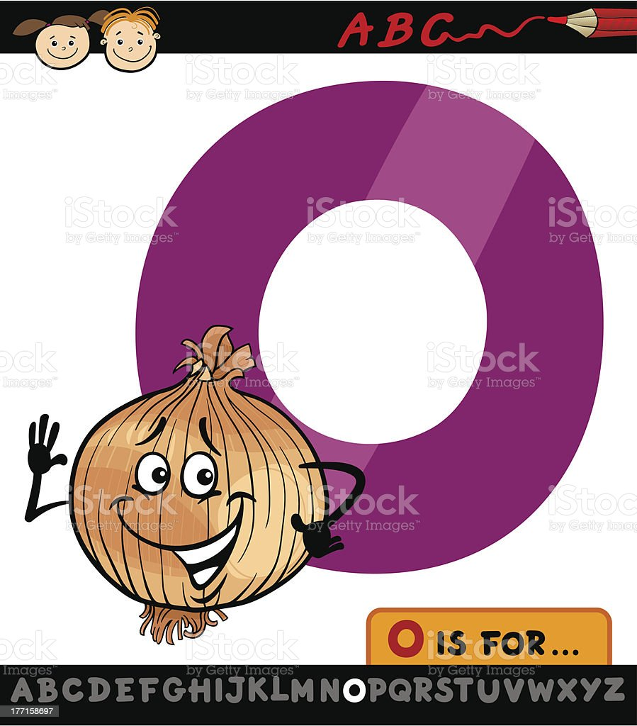 letter o with onion cartoon illustration royalty-free stock vector art