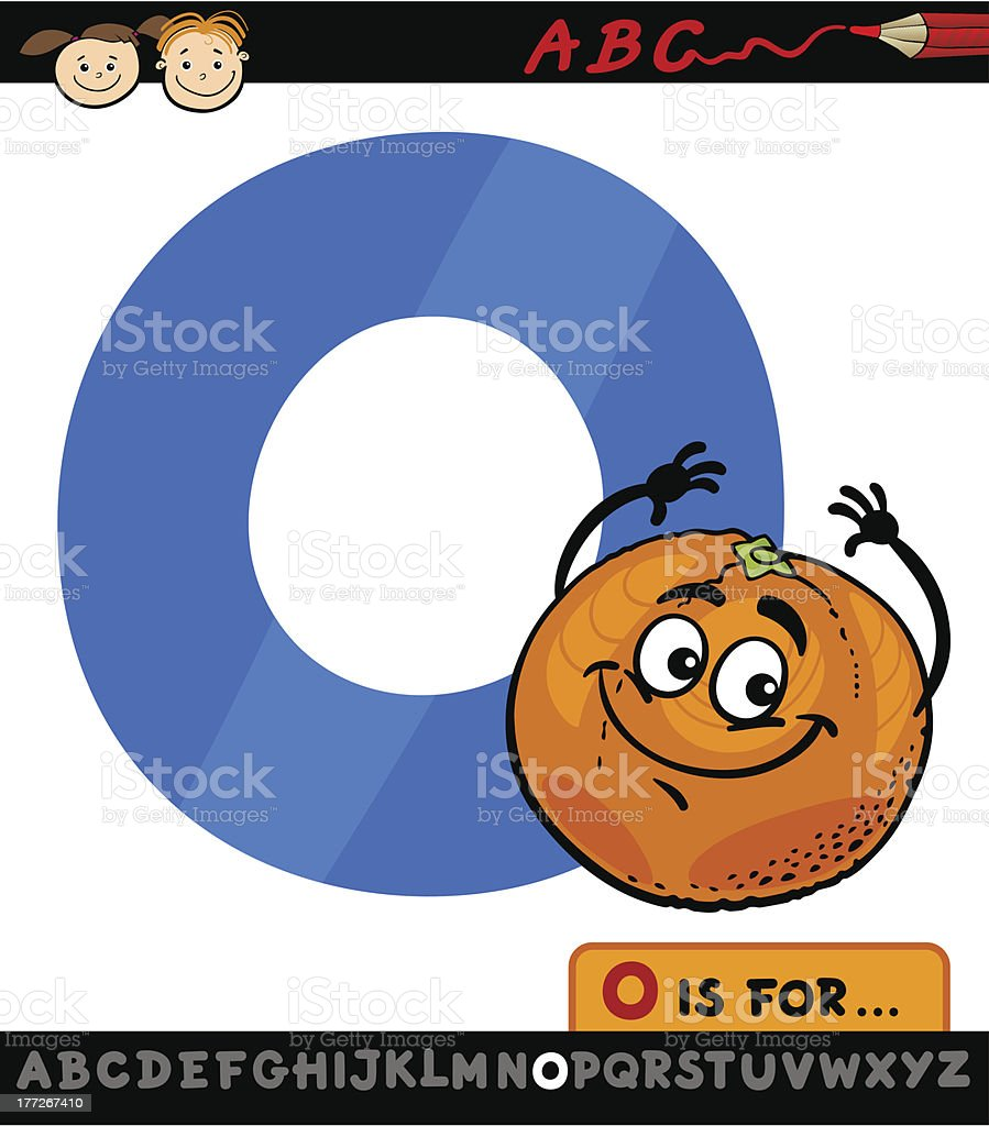 letter o with orange cartoon illustration royalty-free stock vector art