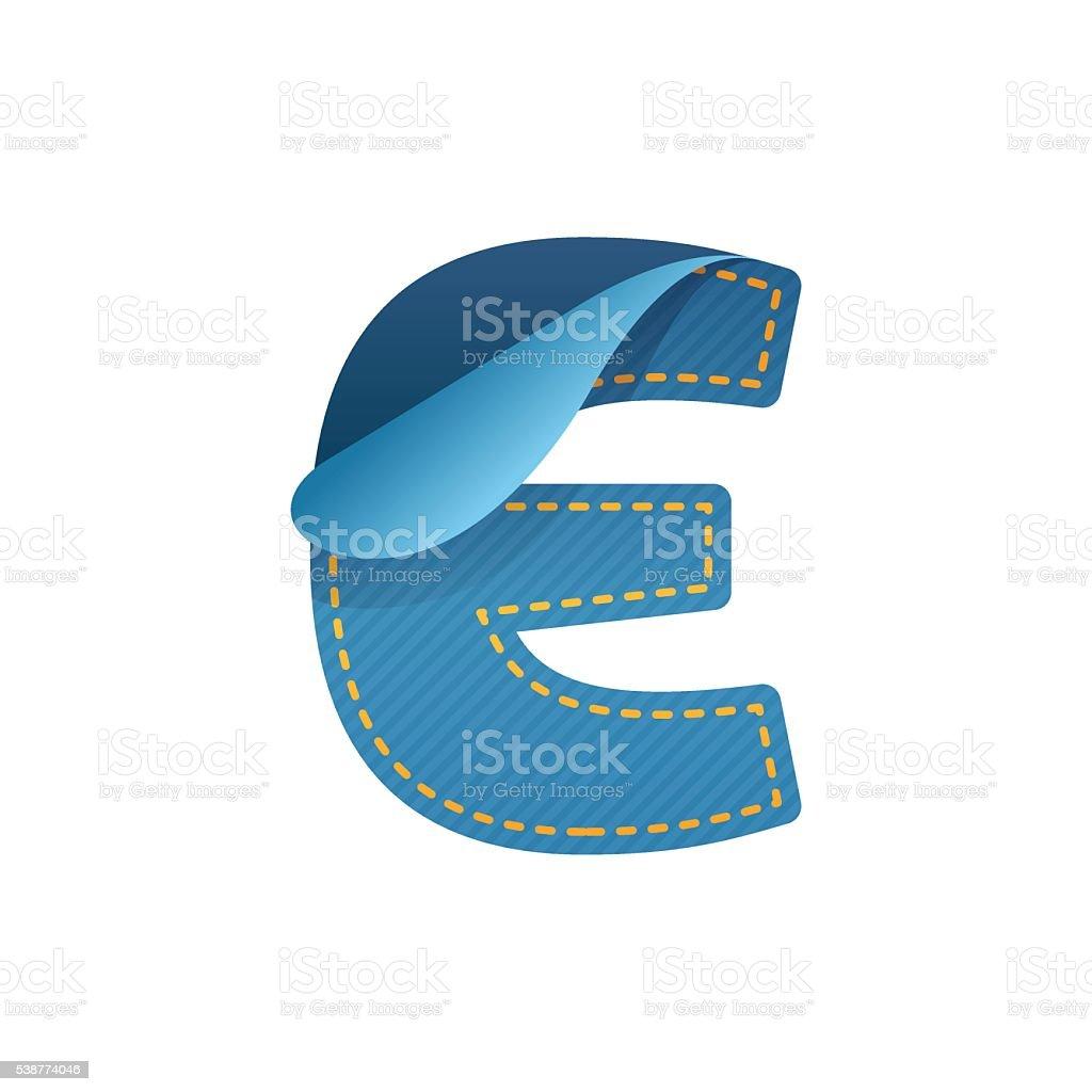E letter of denim with folded corner. vector art illustration