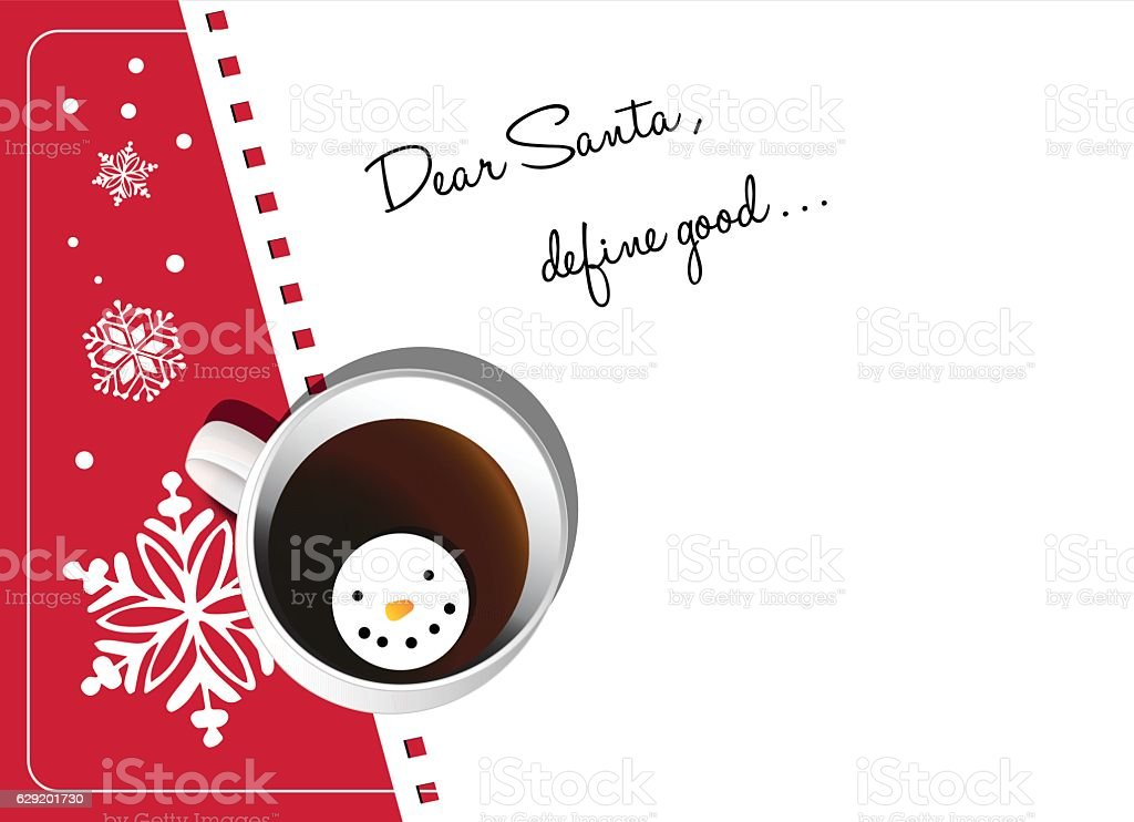 letter of santa with cup of coffee with marshmallow snowman vector art illustration