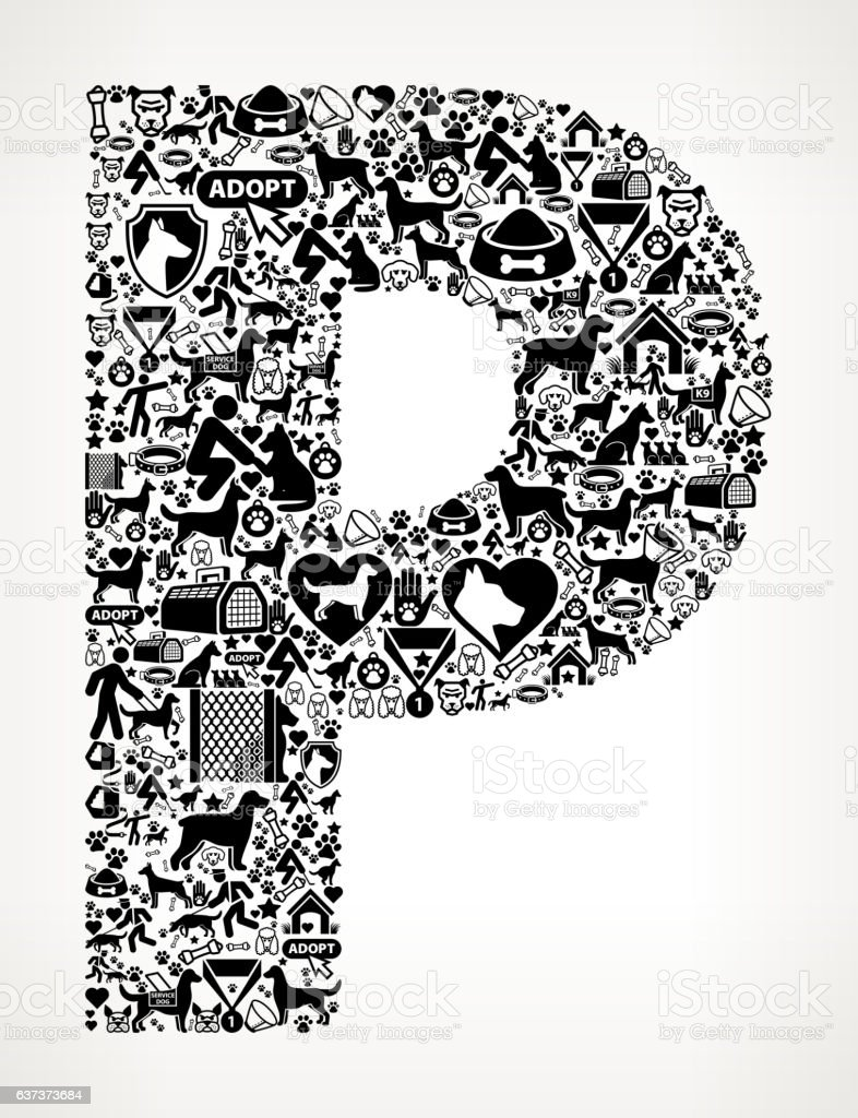 Letter P Dog and Canine Pet Black Icon Pattern vector art illustration