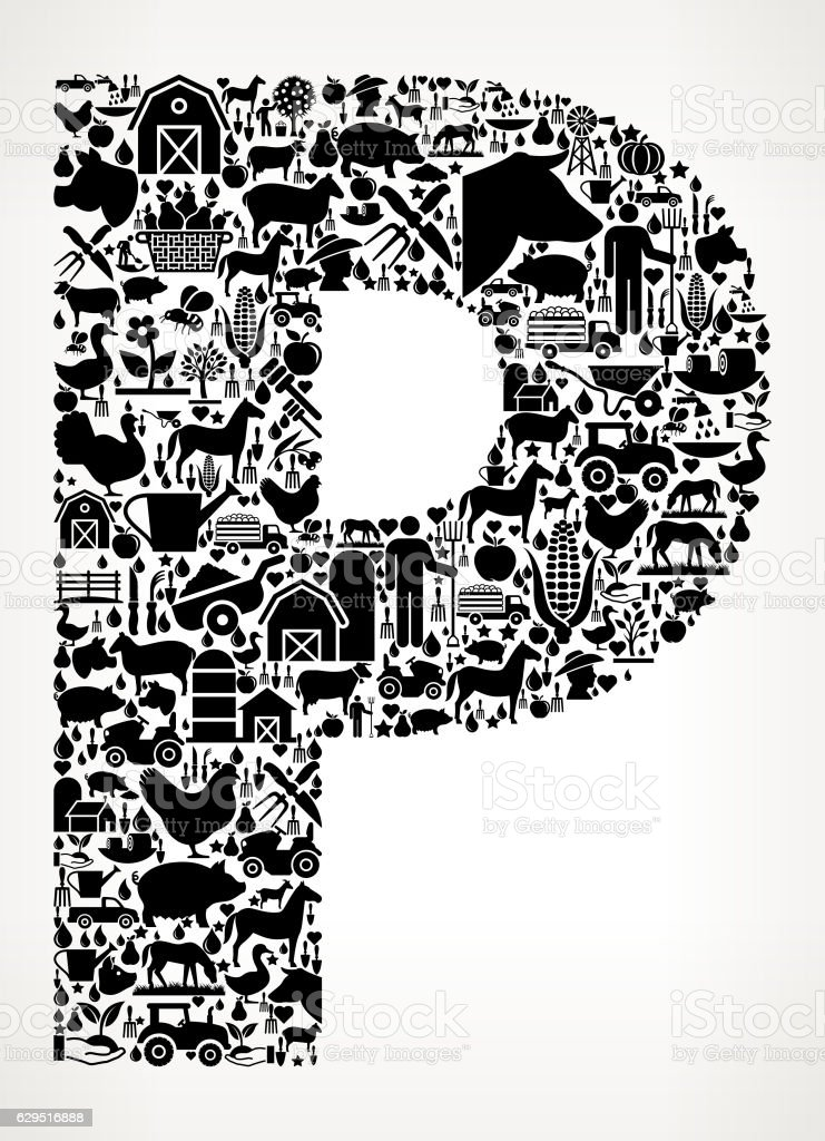 Letter P Farming and Agriculture Black Icon Pattern vector art illustration