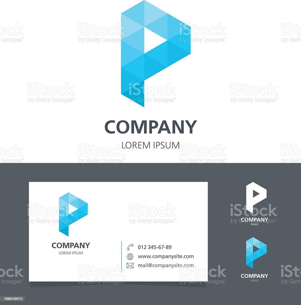 Letter P - Logo Design Element with Business Card - illustration vector art illustration